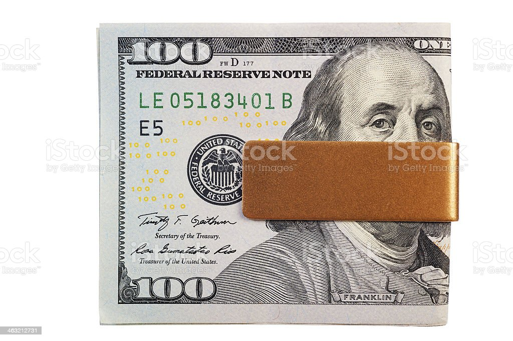 Money Clip with New US $100 Bill stock photo