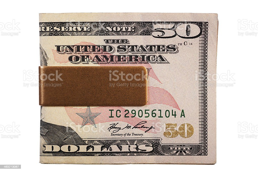 Money Clip with New US $50 Bill stock photo