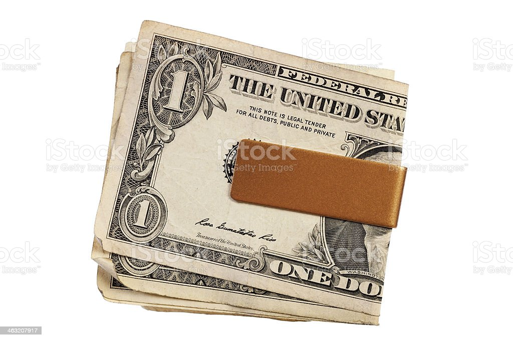 Money Clip with Old US $1 Bills stock photo