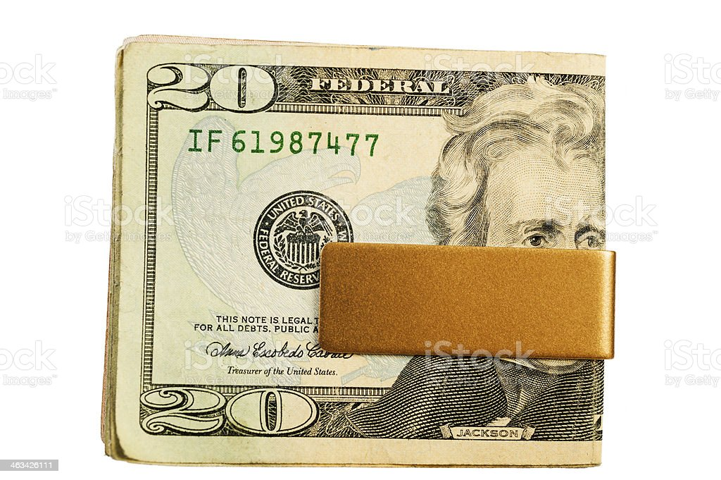 Money Clip with Old US $20 Bill stock photo