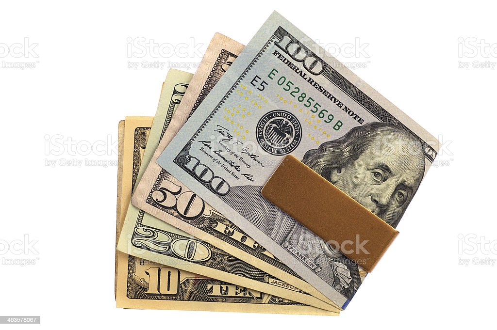 Money Clip with Various US $ Bills stock photo