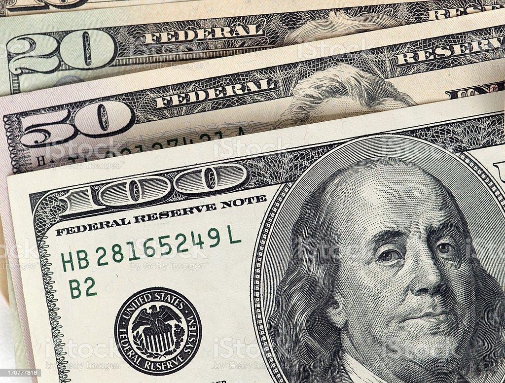 Money Closeup - Hundred, Fifty and Twenty Dollar Bills royalty-free stock photo