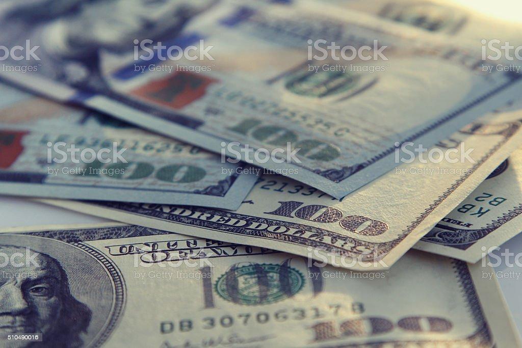 Money closeup of american hundred dollar bills stock photo