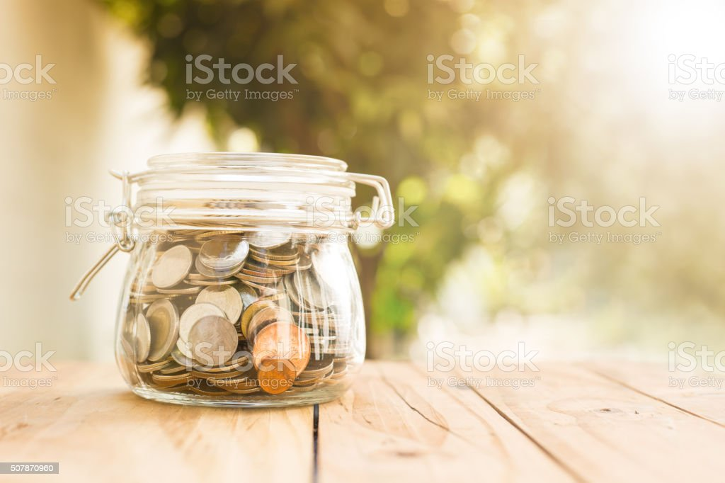 Money coin deposit of save money for prepare stock photo