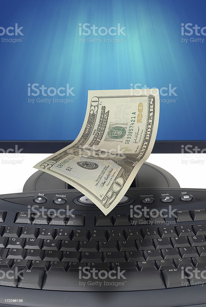 Money Coming Out of Computer Monitor royalty-free stock photo