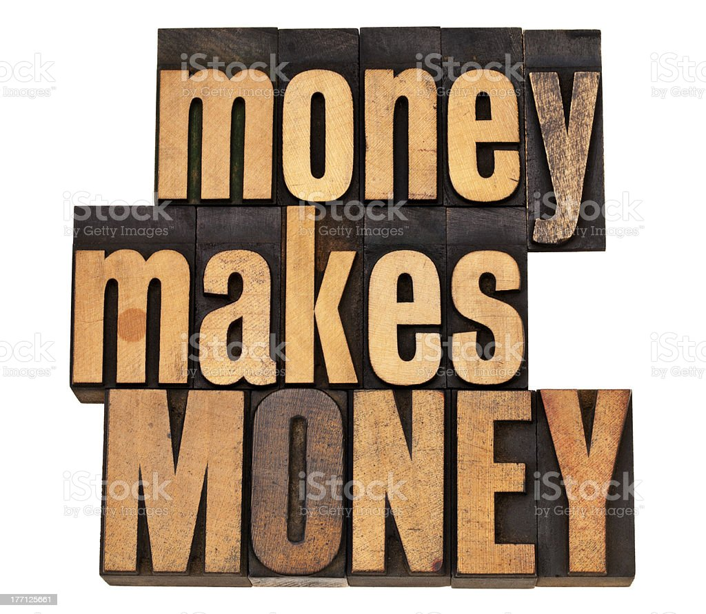 money concept in wood type royalty-free stock photo