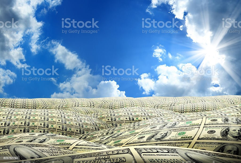 money covered land stock photo