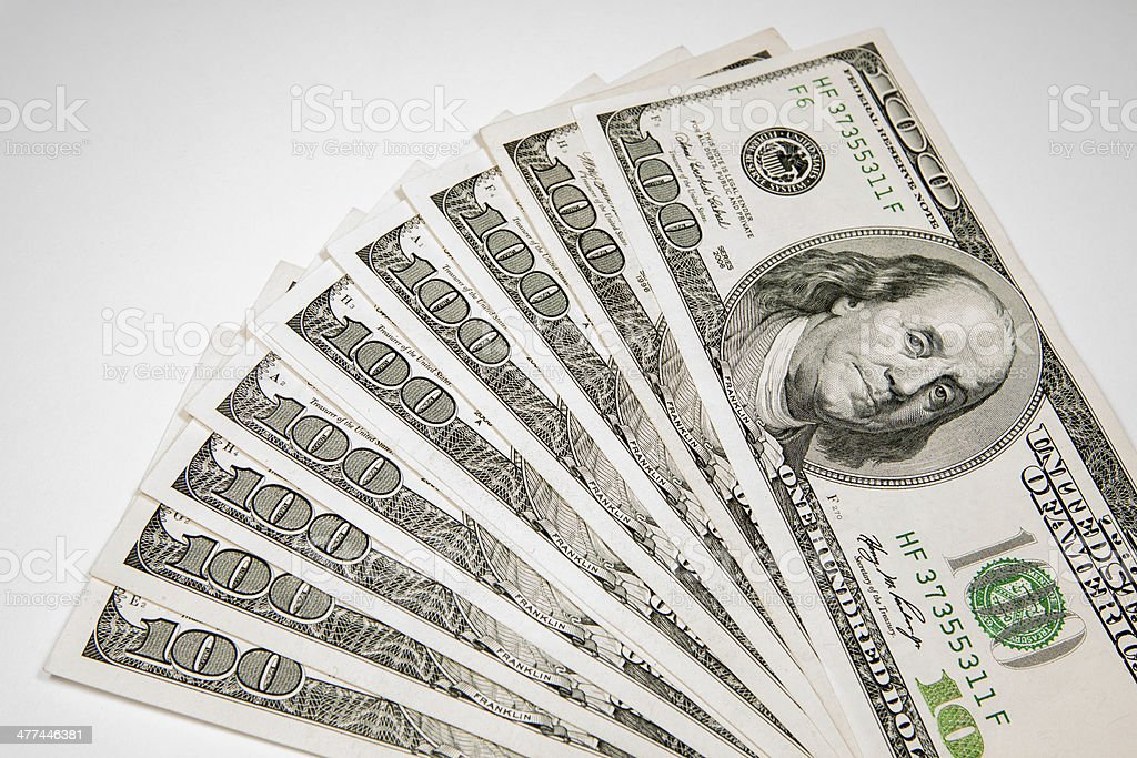 Money Currency Dollar - 100 as background stock photo