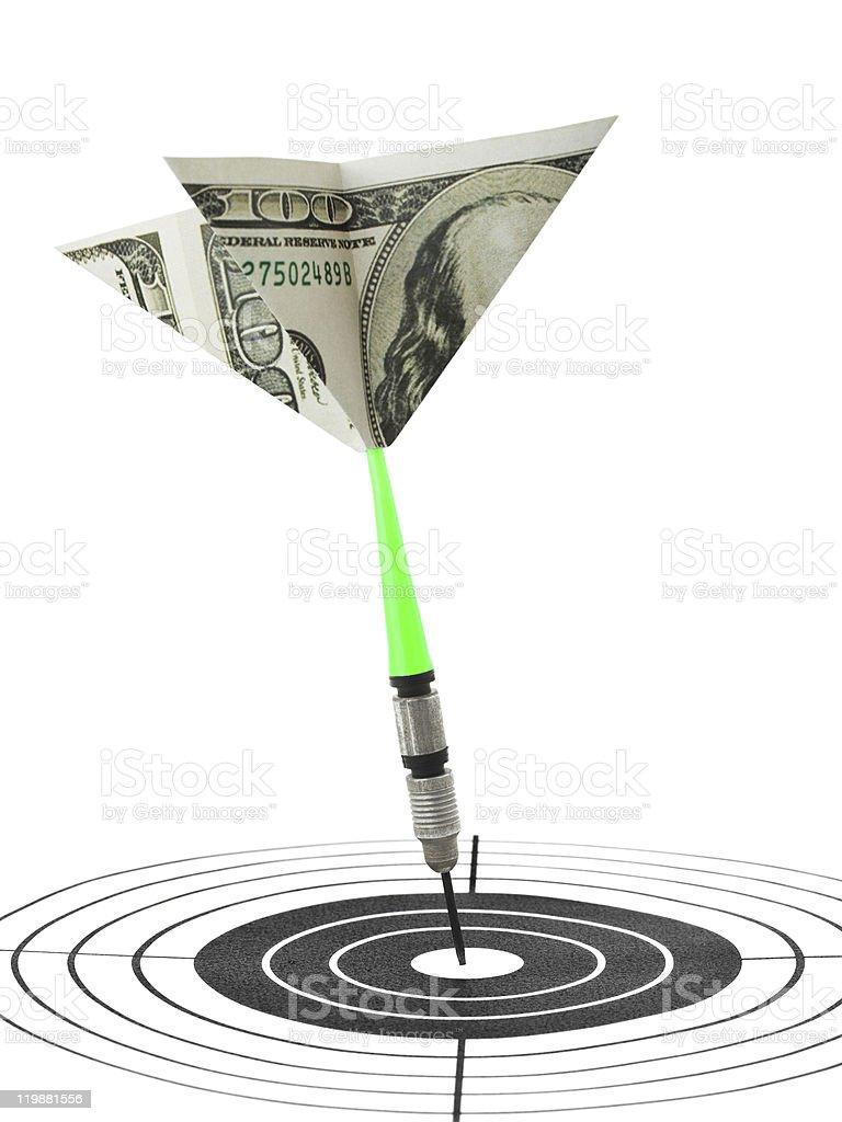 Money darts and target stock photo