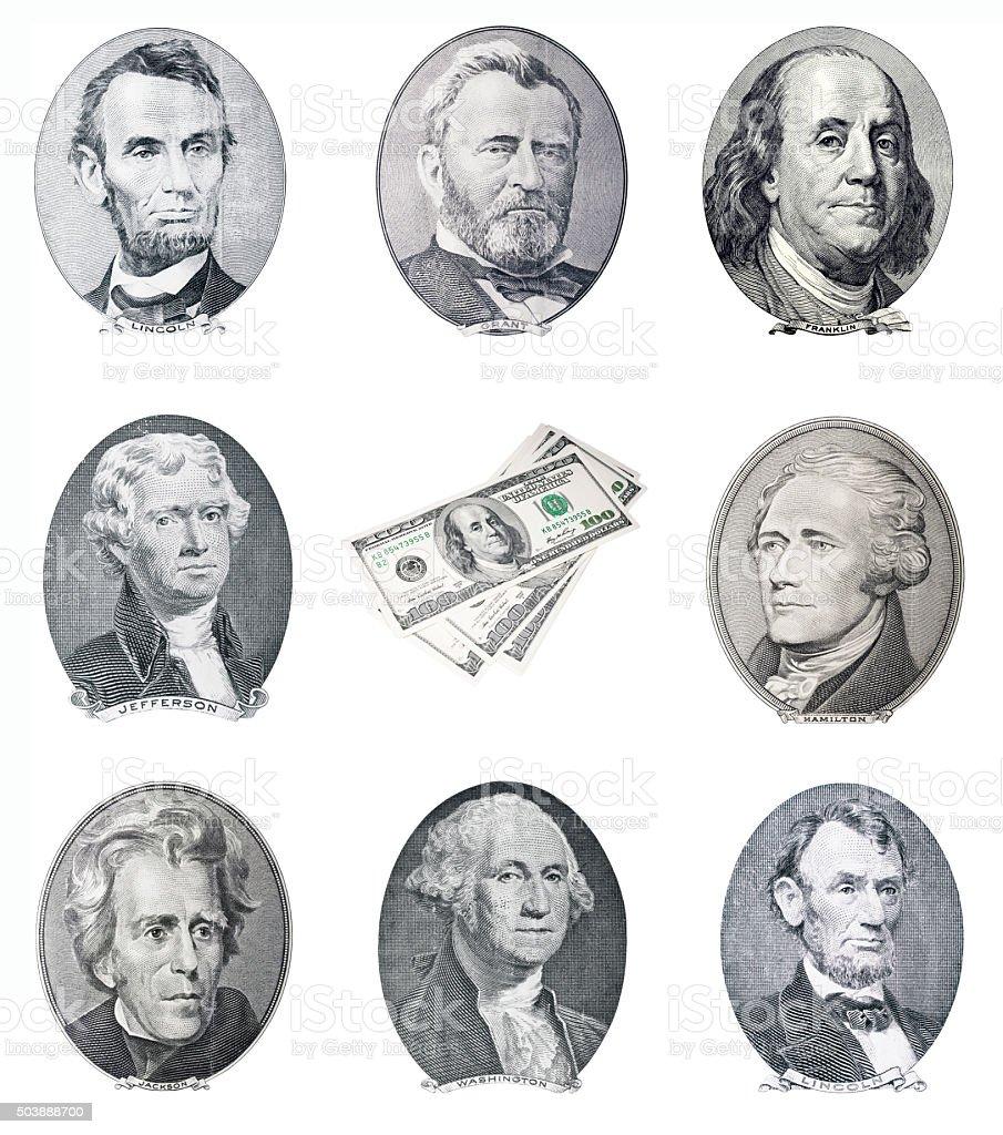 US money. Dead president portraits stock photo