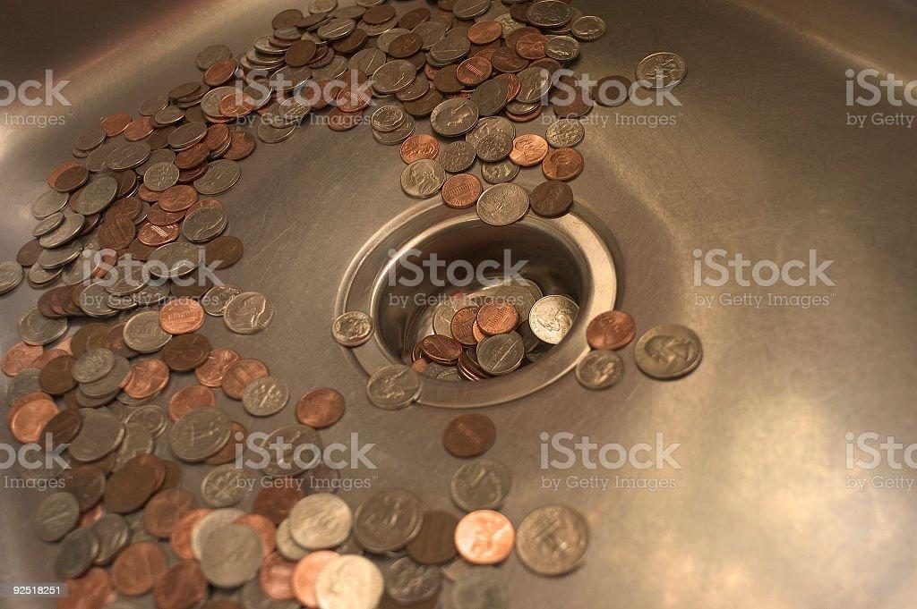 Money down the drain 4 stock photo