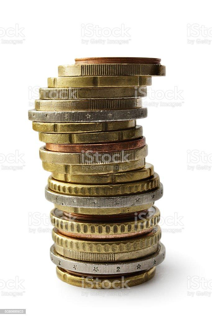 Money: Euro Coins Isolated on White Background royalty-free stock photo
