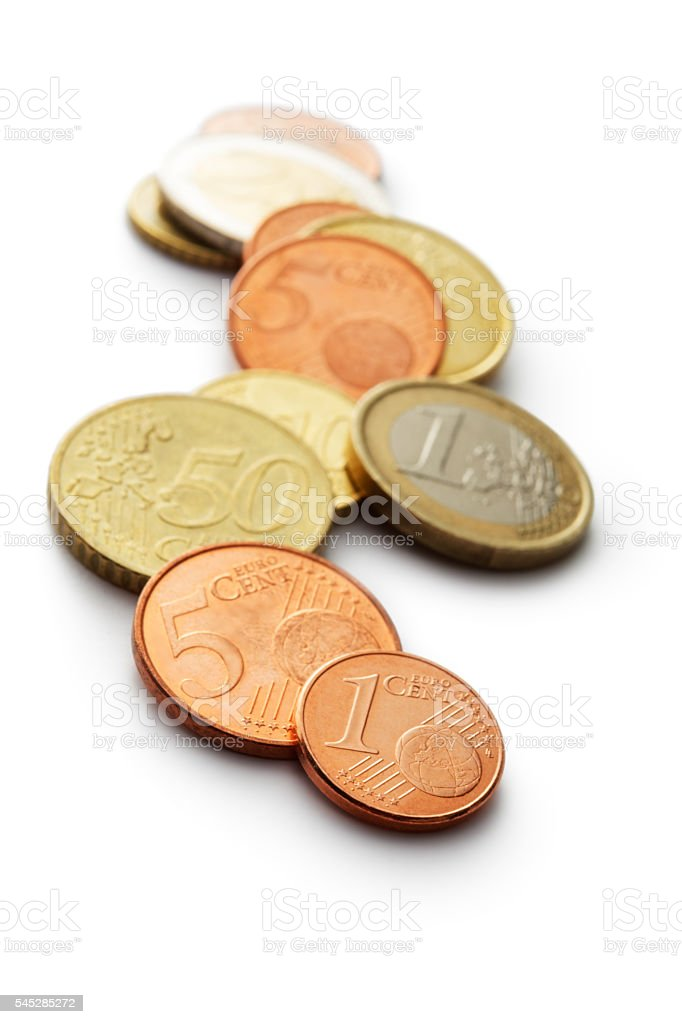 Money: Euro Coins Isolated on White Background stock photo