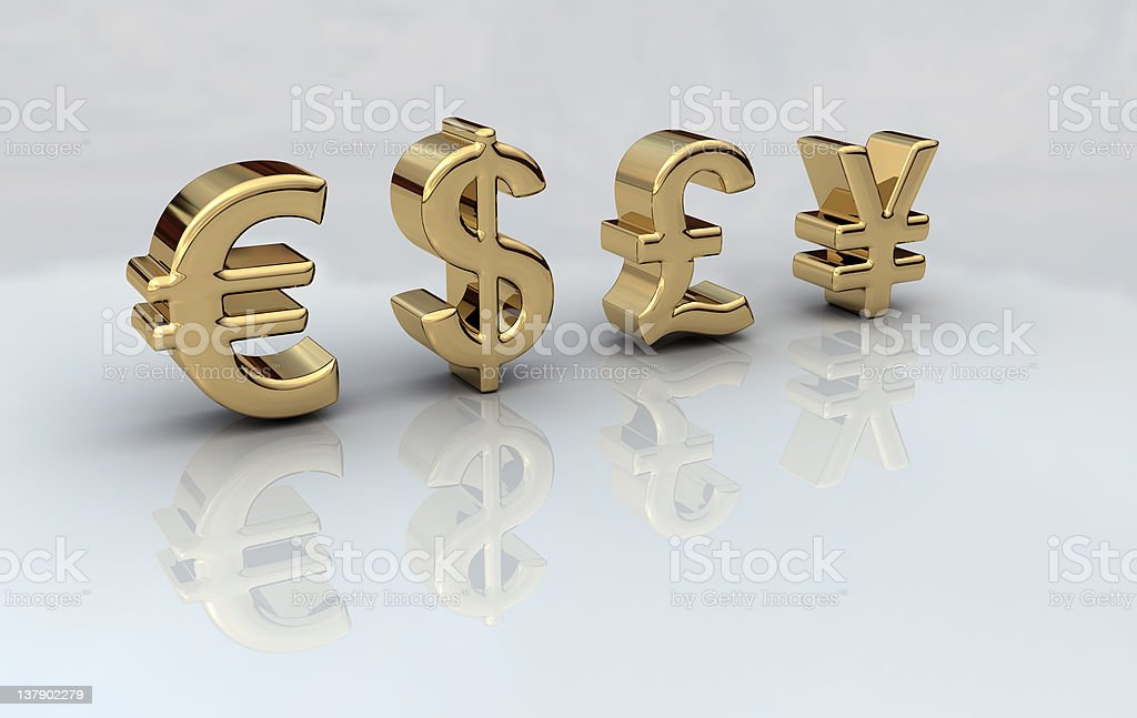 Money Euro Dollar Pound Yen royalty-free stock photo