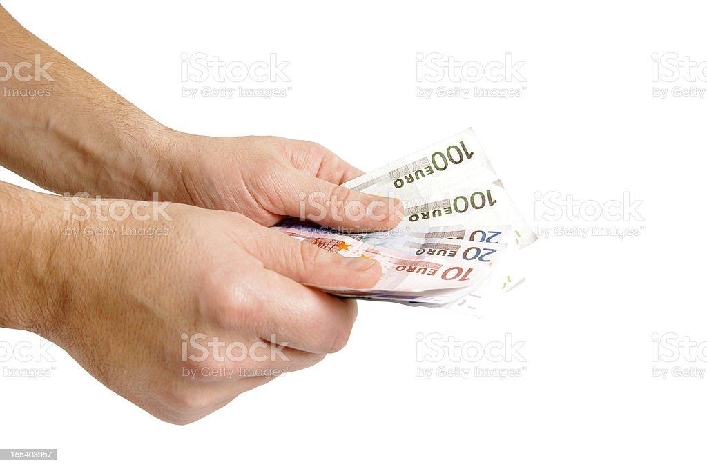 Money euro in man hand royalty-free stock photo