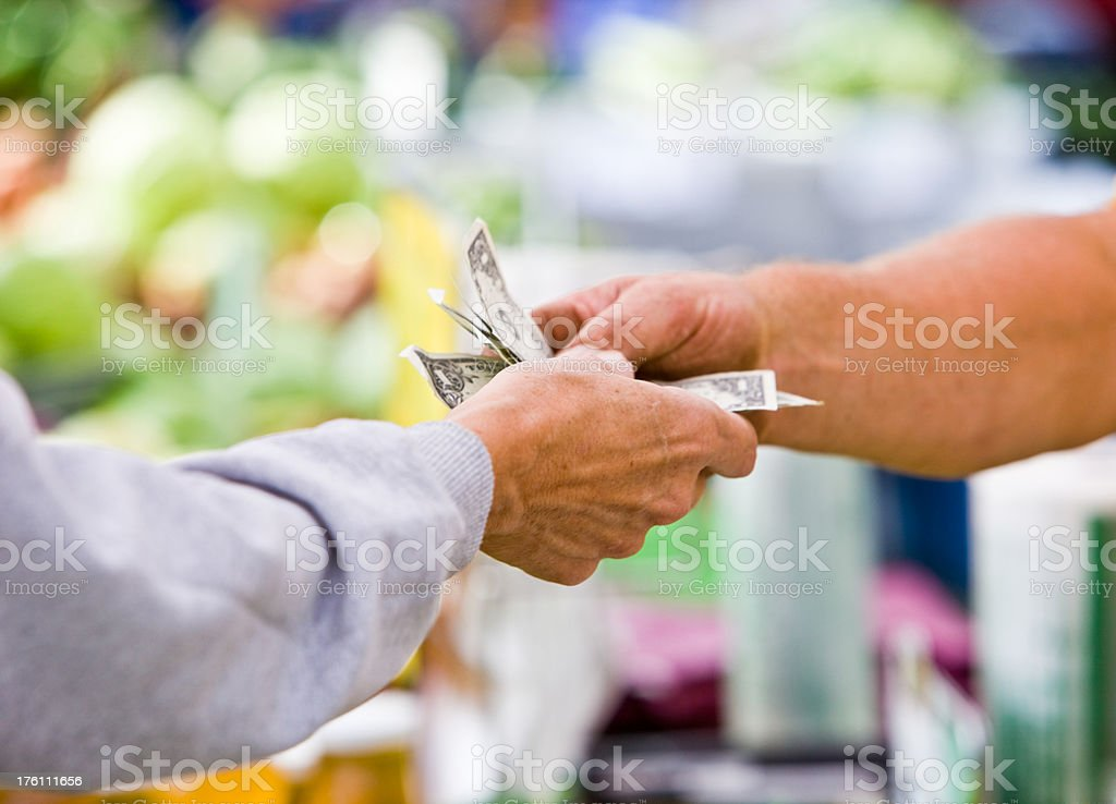 Money Exchange with Colorful Blurred Background stock photo