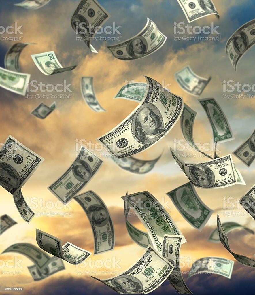 Money Falling From Heaven stock photo