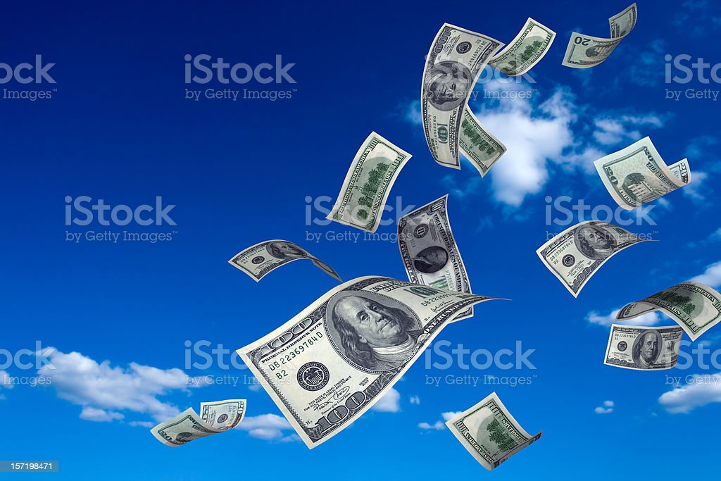 Money Falling from Sky stock photo