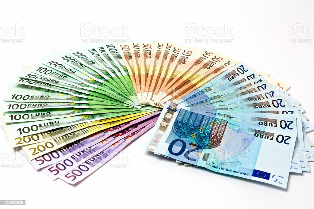 Money fan. Various Euro bills 500 200 100 50 20 stock photo