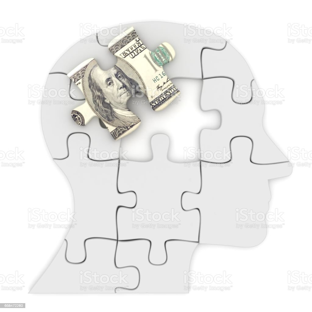 Money finance think idea head puzzle stock photo
