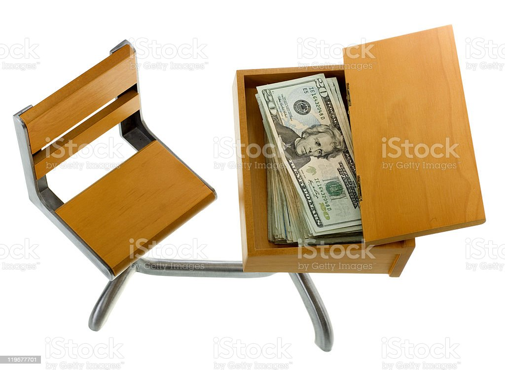 Money for Education inside Desk royalty-free stock photo
