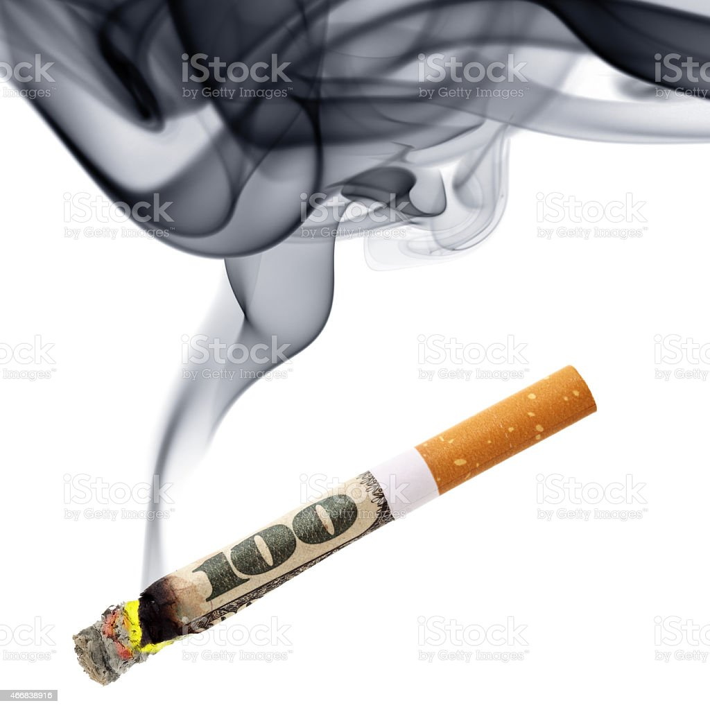 Money for smoking stock photo