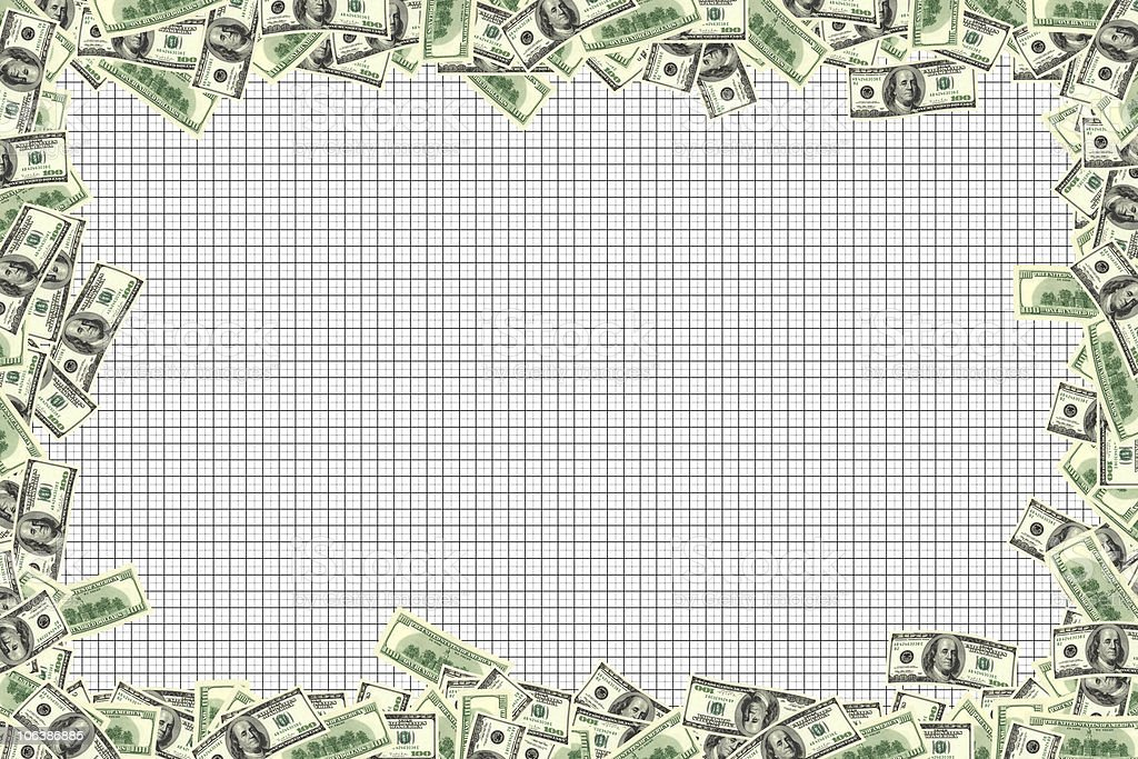money frame and chart stock photo