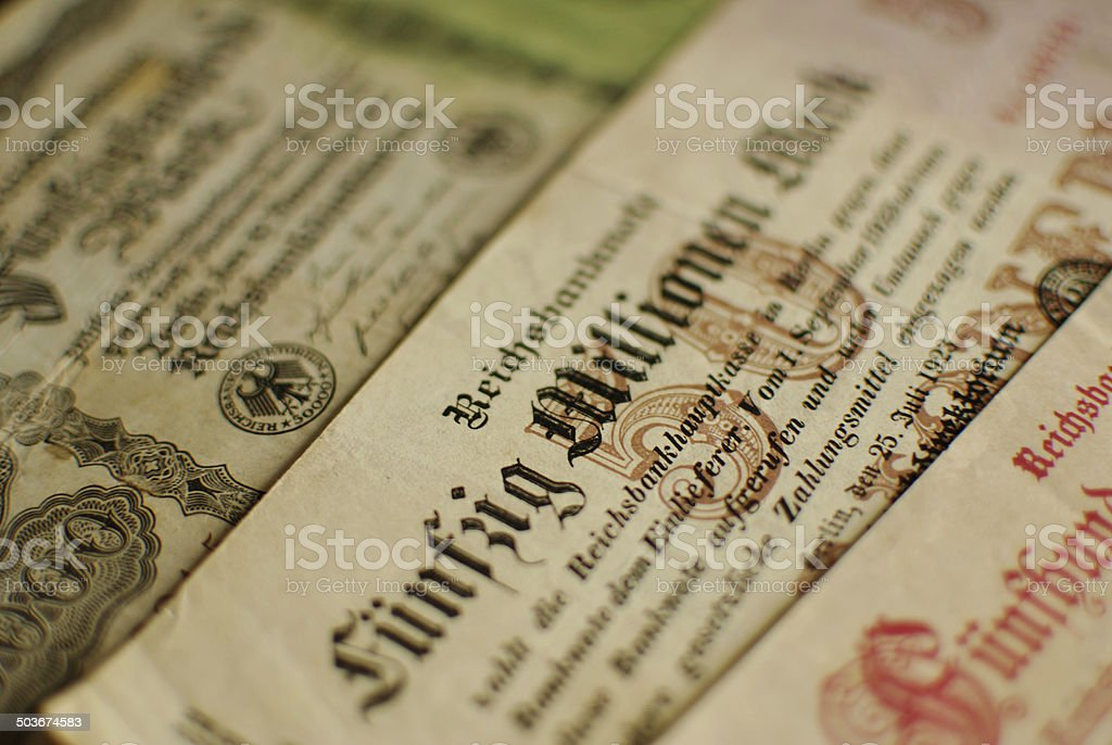 Money from the Hyperinflation in Weimar Republic 1923 stock photo