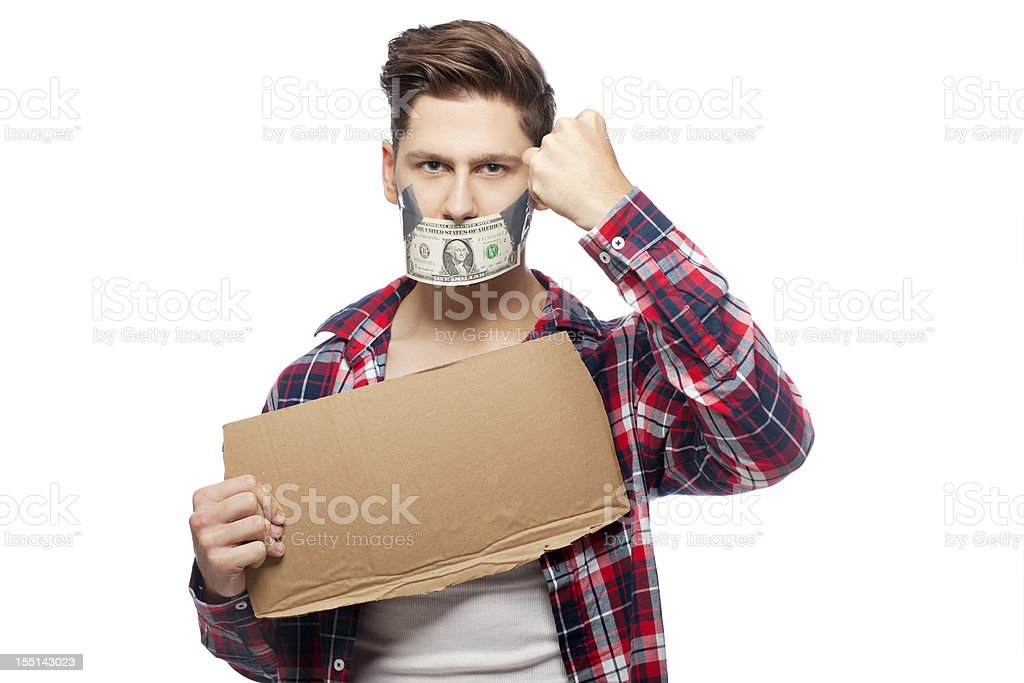 Money Gag with cardboard stock photo