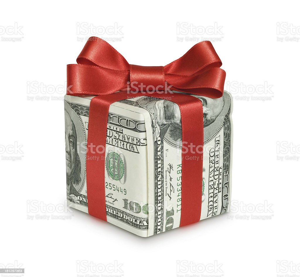 Money gift box with red ribbon stock photo
