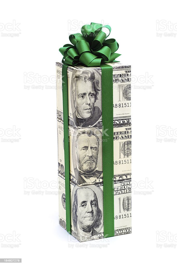 Money Gift of Dollar Bill with Green Bow on White royalty-free stock photo