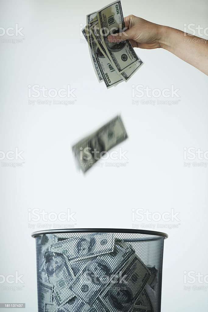 Money goes nowhere in today's economy! stock photo