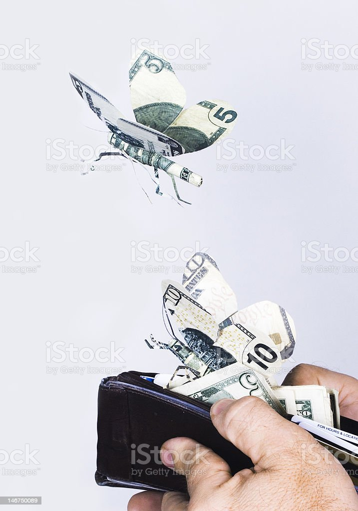 Money Growing Wings and Flying Away royalty-free stock photo