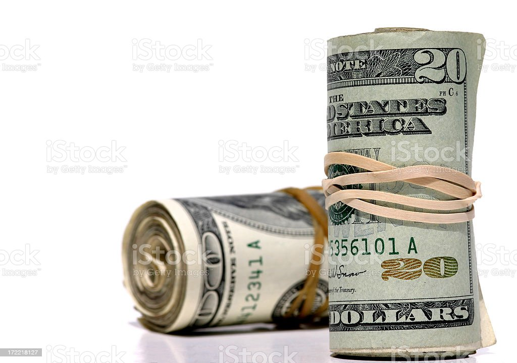 Money held by Rubberband royalty-free stock photo