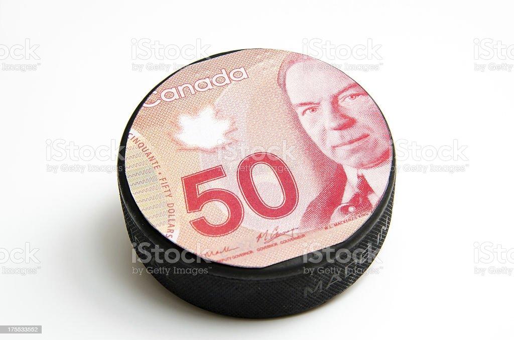 Money Hockey Puck- Canada's Game stock photo