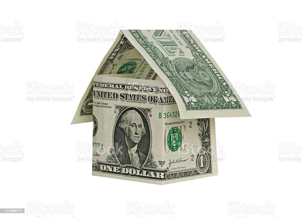 Money home isolated on white background royalty-free stock photo