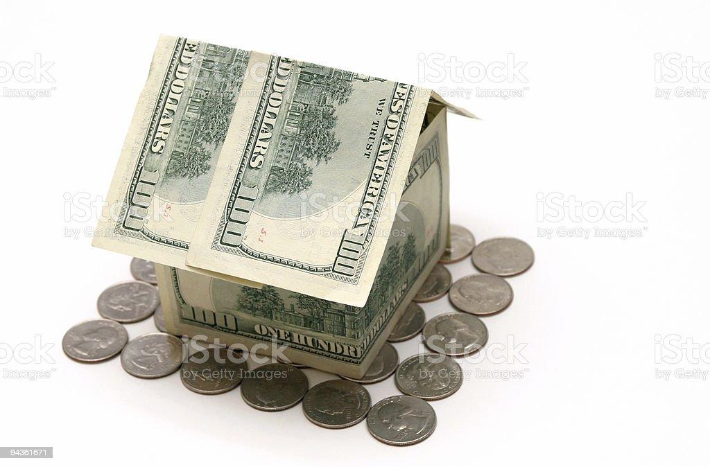 Money house at angle stock photo