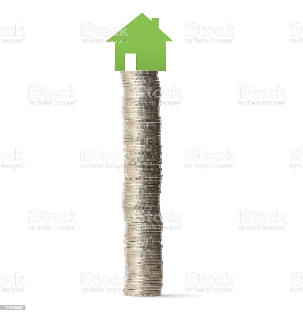 money house from coins stock photo