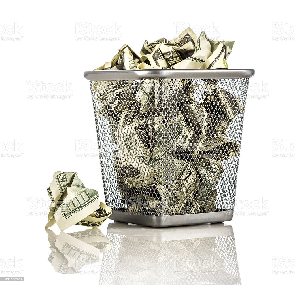 Money in a basket stock photo