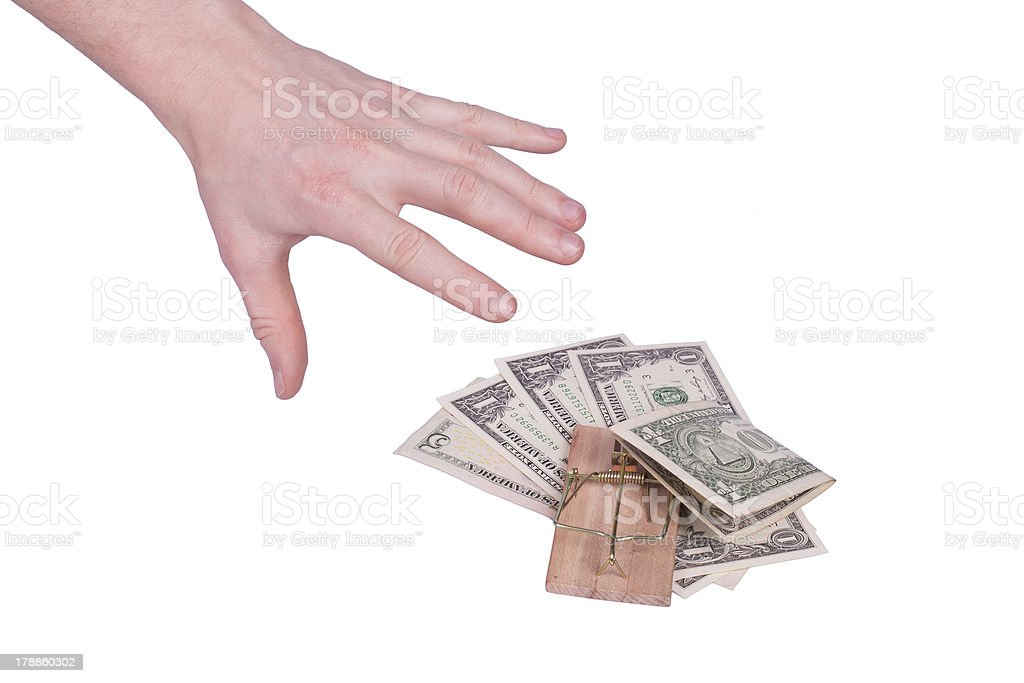 Money in a mousetrap royalty-free stock photo