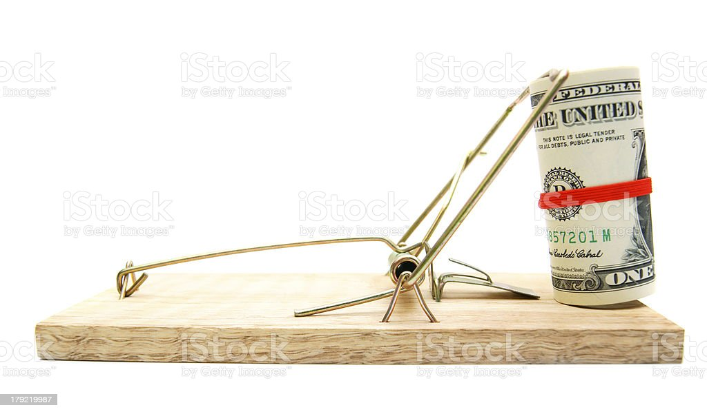 Money in a mousetrap. stock photo