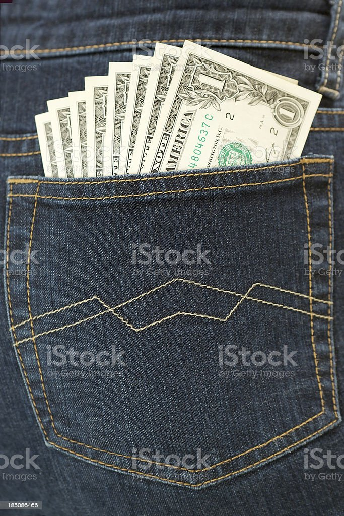 Money in Back Pocket royalty-free stock photo