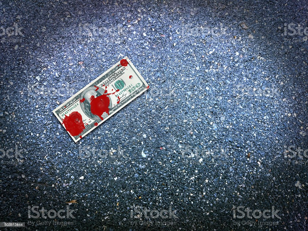 Money in blood stock photo