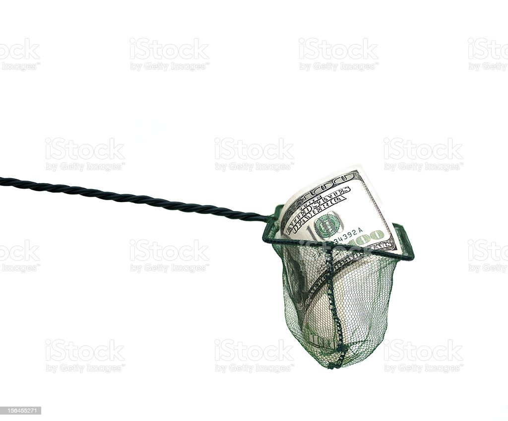 money in fishing net royalty-free stock photo