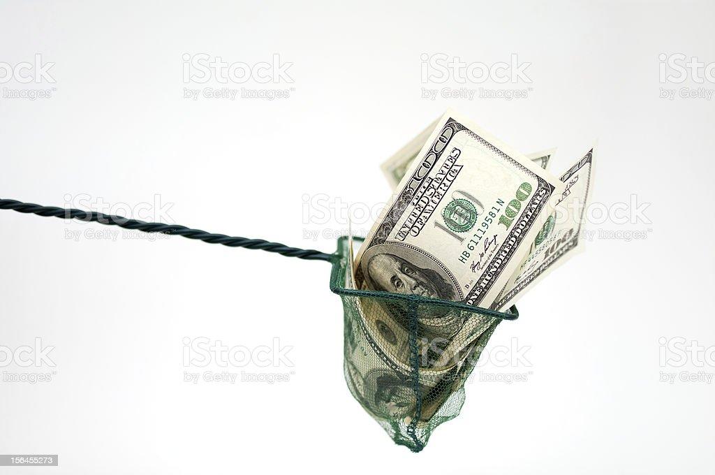 money in fishing net royalty-free stock photo