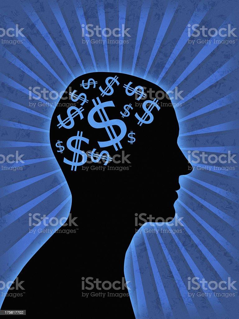 money in head stock photo