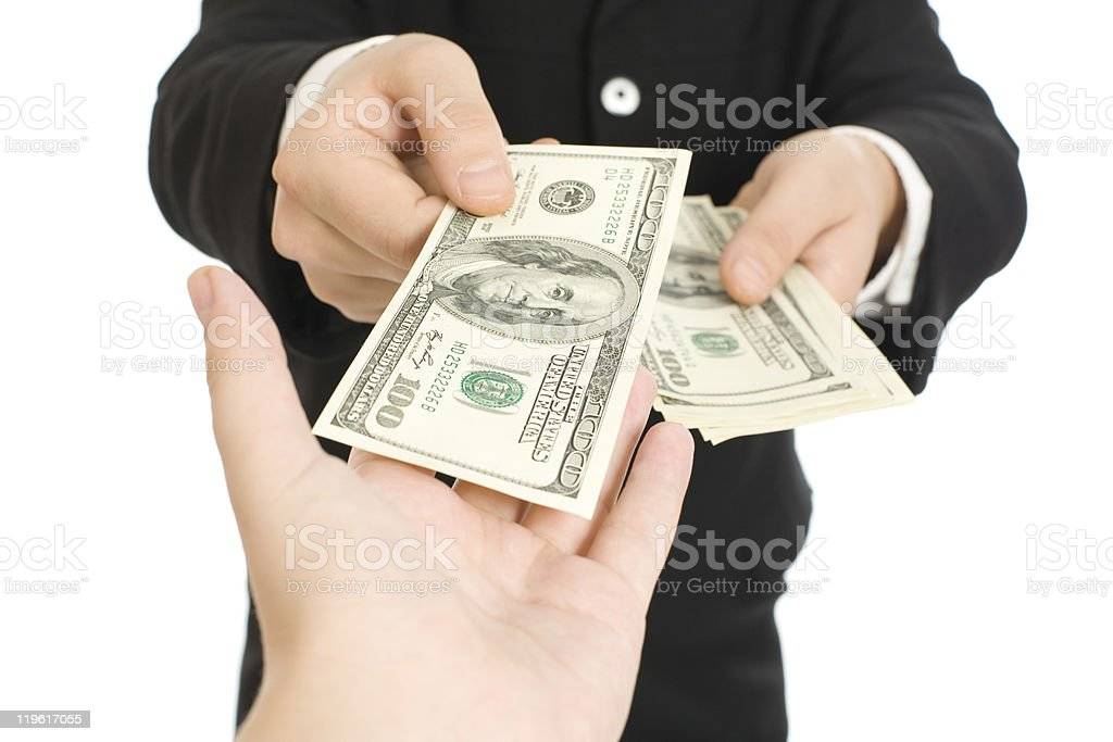 Money in human hands royalty-free stock photo