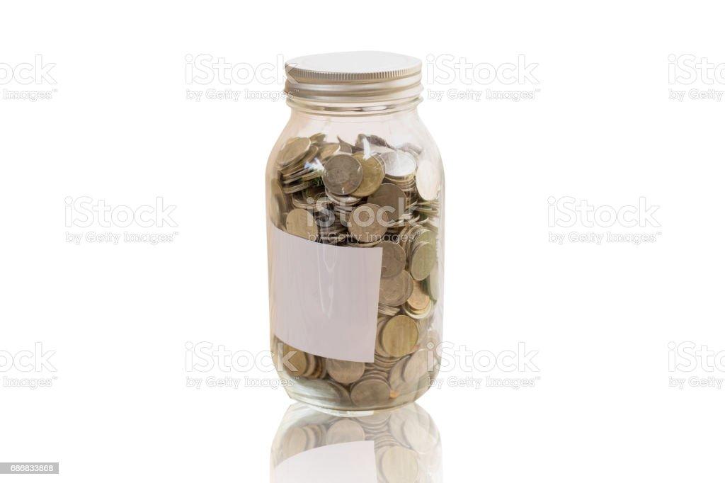 Money in jar stock photo
