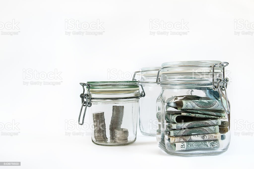 money in jars 4a stock photo