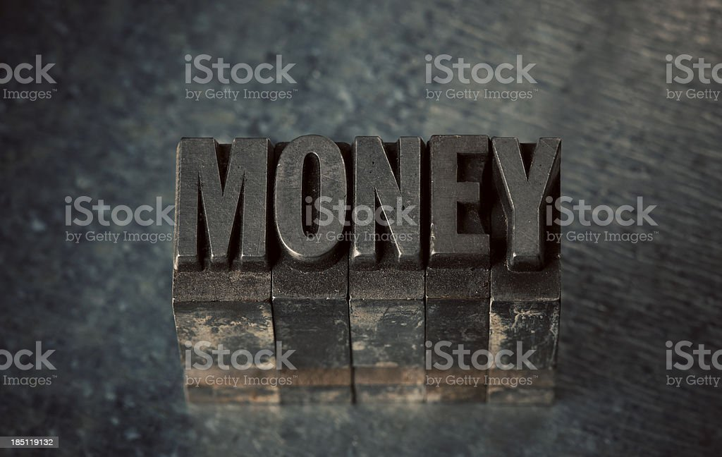 Money In Letterpress Type stock photo